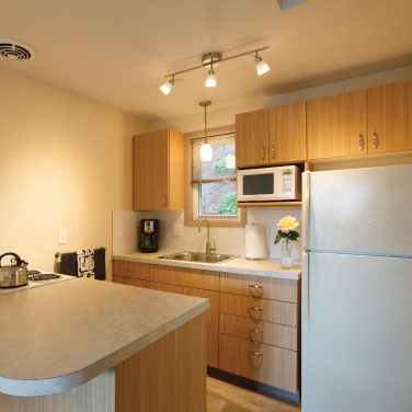 Fully equipped kitchens at Brooklyn Center Suites